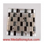 Stainless Steel and Crackel Glass Backsplash Mosaic